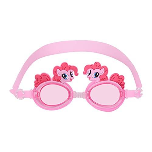 Yusat - Occhialini da nuoto per bambini, regolabili, anti-appannamento, con protezione UV, lenti colorate, per ragazzi, ragazze, bambini, rosa, principessa, cavallo, cartone animato