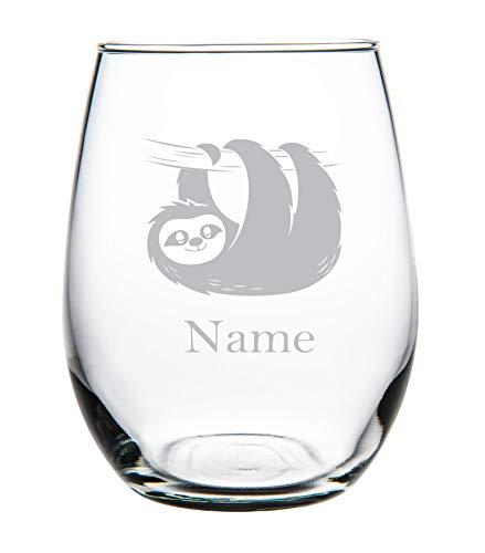 Luiaard met naam 11oz steelloos Wijnglas