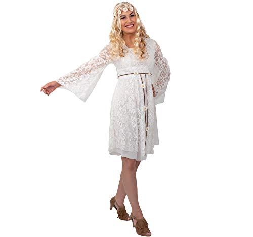Spitzenkleid Hippie, creme (Kleid, Gürtel, Haarband)