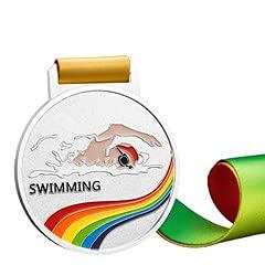 Watermzk Medallas de astilla profesionales personalizadas, para ganador de natación, logotipo personalizado grabado, 2º premios, medallones de 2.75 pulgadas de ancho, con cinta de cuello, (nada)..