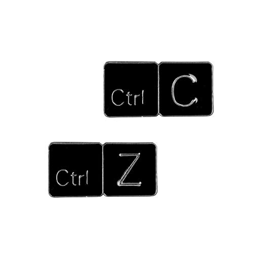 * Meme Strg C/Z Tastatur Emaille Pin Kopie Return Keys Tabletten Broschen Geschenk Spiel Symbol Denim Jeans Abzeichen Button Emaille Anstecknadeln(Size:EINSTELLEN)