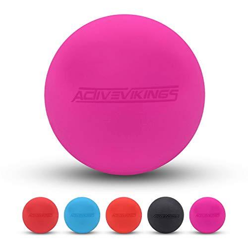 ActiveVikings piłka do masażu – idealna do masażu i do samodzielnego masażu – piłka Lacrosse i piłka powięzi dla kobiet i mężczyzn (różowa)
