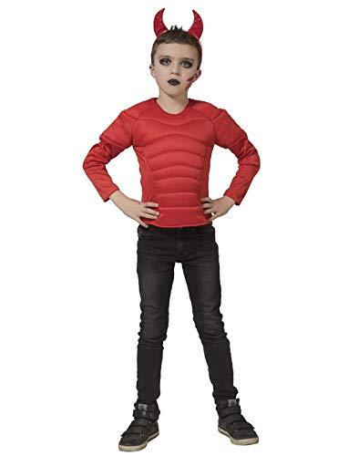 Luxuspiraten - Jungen Kinder Teufels Kostüm mit Muskel Shirt, perfekt für Karneval und Halloween, 164, Rot