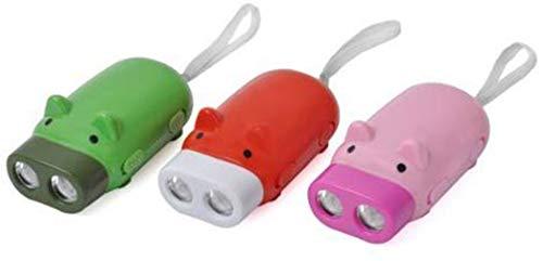 Mini cerdo mano presionando dínamo llavero linterna LED antorcha color aleatorio