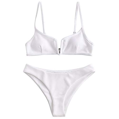 ZAFUL Women's V-Wire Padded Ribbed High Cut Cami Bikini Set Two Piece Swimsuit (White, S)