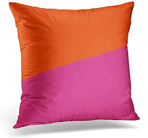 BONRI Throw Pillow Cover Red Magenta Two Orange and Cerise Pink Designer Funda de Almohada Decorativa Funda de Almohada Cuadrada para decoración del hogar, 16'x 16'