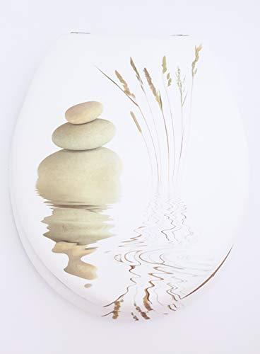 takestop® Universele toiletbril van hout, steen, met witte stenen