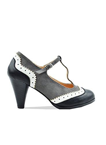 Chase & Chloe Dora-8 Oxford Pumps für Damen, runder Zehenbereich, zweifarbig, T-Strap, Schwarz (schwarz / grau), 38 EU