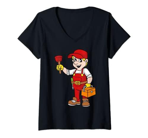 Mujer Plomero Plomería Fontanero Fontanería Obrero Camiseta Cuello V