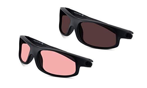 (Bundle) TheraSpecs Petite Wrap Blue Light Glasses for Migraine, Light Sensitivity