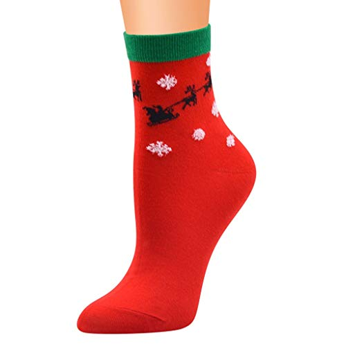 Kolylong® 1 Paar Weihnachtssocken - Socken Damen & Herren Weihnachten - kräftige Farben und bunte Weihnachtsmotive - Qualität ohne Naht aus Baumwolle Sportsocken - Rot