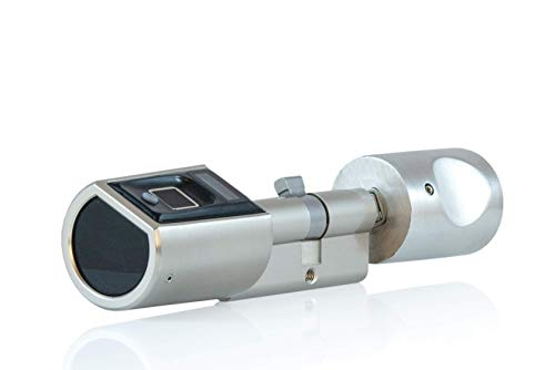 SOREX FLEX Fingerprint & RFID Türöffner mit österreich. Support! - Zylinder längenverstellbar, schnelle einfache Montage, elektron. Türschloss, inkl. VARTA Batterien, Edelstahl gebürstet