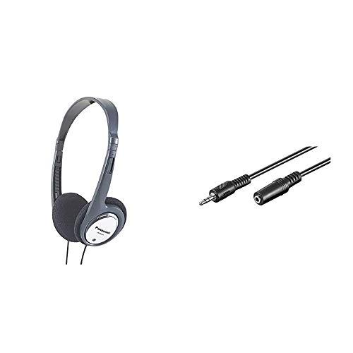 Panasonic RP-HT030E-S Bügelkopfhörer, Silber & Goobay 50090 Kopfhörer- und Audio Verlängerungskabel AUX; 3-polig; 3,5 mm Klinke 3,5 mm Stecker auf Klinke 3,5 mm Buchse, Schwarz, 5 Meter
