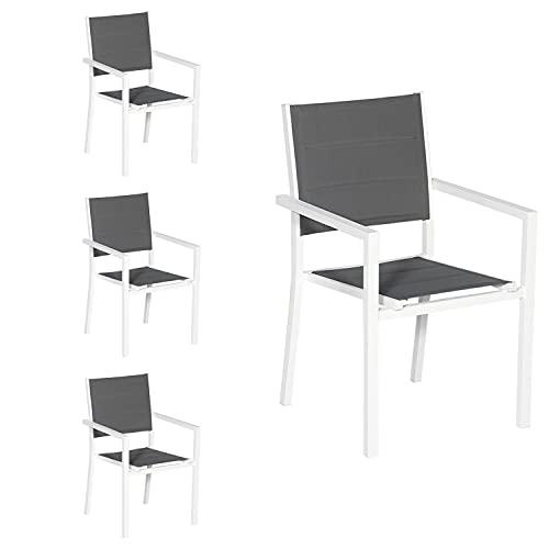 Happy Garden Lot de 4 chaises rembourrées en Aluminium Blanc - textilène Gris