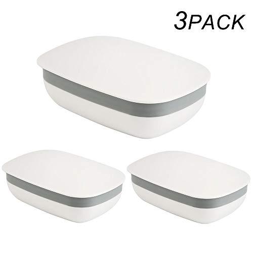 Vegena Seifendose, 3 Stück Seifenschalen Box mit Abdeckung für Badezimmer Reise Camping (Weiß)