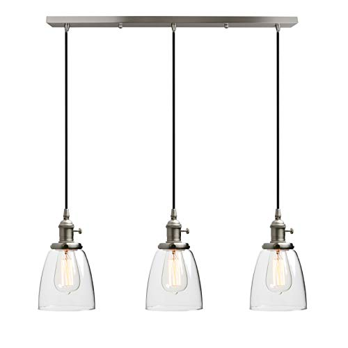 Phansthy Klar Glas Glocken 3 Flaming Retro Design Modernes Pendelleuchte Hängeleuchte Vintage Hängelampen Hängeleuchte Pendelleuchten Loft-Pendelleuchte im Landstil (Gebürsteter Edelstahl Farbe)