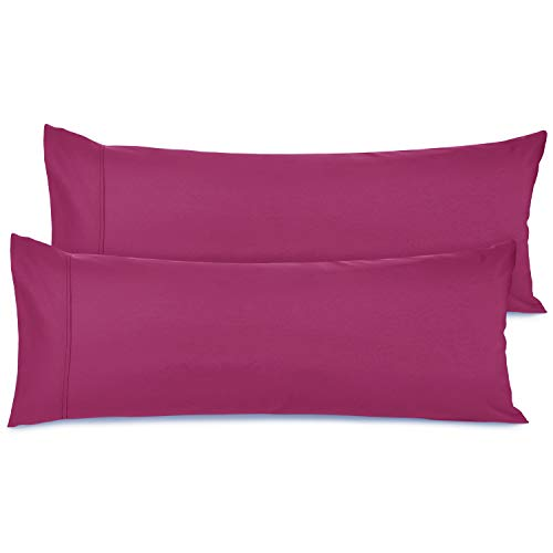 Nestl Premium Body Pillowcase Set of 2 - Double Brushed Microfiber Cool Body Pillow Covers - 20 x 54 in - Breathable Ultra Soft Bed Pillow Cases - Vivacious Magenta