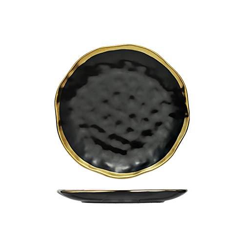 Platos llanos Placa de cerámica nórdica ensalada de frutas Placas de Navidad Placas de oro Placas de oro Cena de porcelana negro Partido Bandejas redondas Decorativo Juego de platos blancos para cena