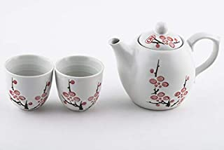 Japanese Snow White Cherry Blossom Sakura Ceramic Tea Set with Strainer Teapot with Side Easy Pour Handle and 2 Tea Cups