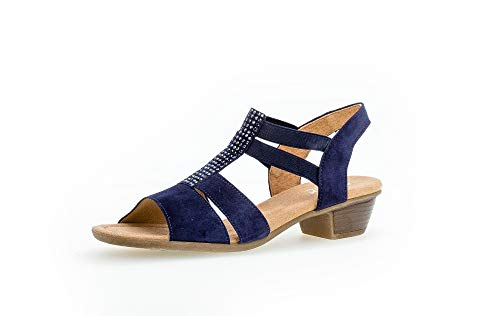 Gabor Damen Sandalen, Frauen Riemchensandalen,Comfort-Mehrweite, Women Woman Freizeit leger Sandalette sommerschuh,Bluette (Strass),37.5 EU / 4.5 UK