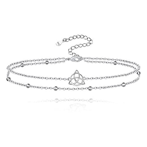 Sterling Silver Celtic Butterfly Anklet: Women Bead Layered Chain Ankle Bracelet Summer Holiday Foot Jewelry for Girls Teens (Celtic)