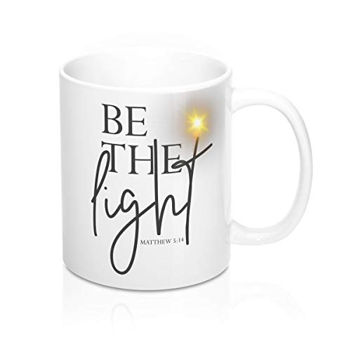 "Becher mit Aufschrift ""Be The Light Be The Light"", christlicher Kaffeebecher, Bibelvers"