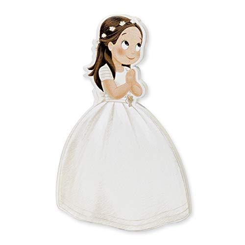 Mopec Pack de Figuras 2D Niña Comunión Vestido Largo y Corona, Madera, Blanco, 0.5x7x11 cm, 6 Unidades