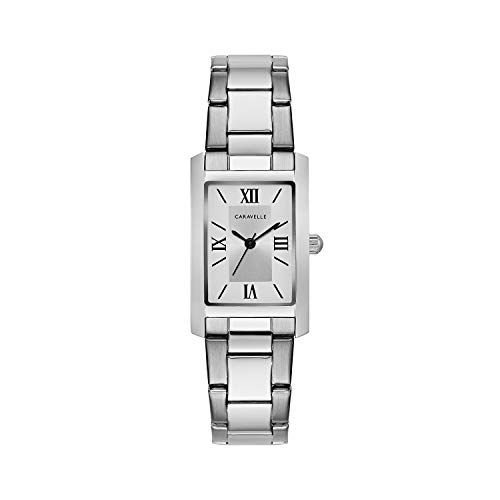 Caravelle Designed by Bulova Women's Quartz Watch with Stainless-Steel Strap, Silver, 16 (Model: 43L203)