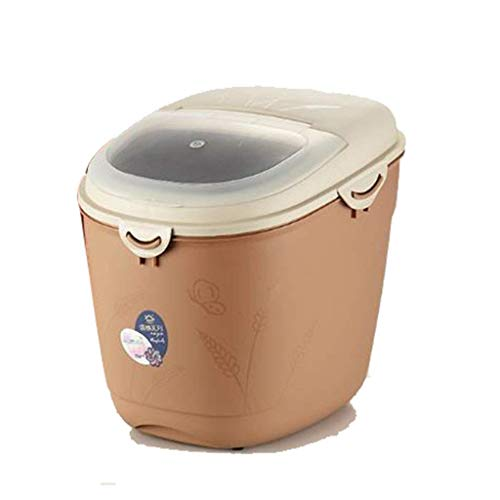 Rijst emmer huishouden opslag vochtbestendige rijst cilinder insectenveilige meel emmer opslag mueslihouder (kleur: bruin, afmetingen: 31 * 22,5 * 24 cm / 12 * 8 * 9 inch)