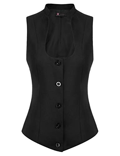 Womens Vintage Vest Fully Lined Formal Business Dress Suits Button Down Steampunk Waistcoat