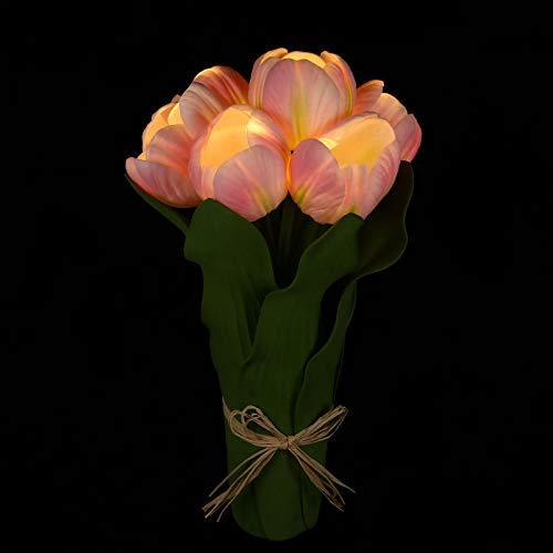 OSALADI Tulipanes Flores Artificiales con Luz Led Lámpara de Noche de Día de La Madre Regalo Tulipán Blanco Cálido Lámpara de Mesa Decorativa Lámpara de Noche de Escritorio Lámpara de
