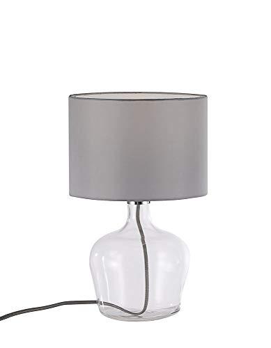 LED Tischleuchte mit Stoffschirm in grau, inkl. Leuchtmittel, E27-Fassung, Nachttischlampe, warmweiss, 3000 Kelvin, Vasenleuchte mit Glasfuß, inkl. Schnurschalter