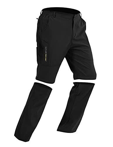 Pantalones de Trekking de Primavera y Verano para Hombres, Pantalón Cortos de Funcionales, Pantalones Escalada al Aire Libre, Senderismo, Montañismo (Negro, L)