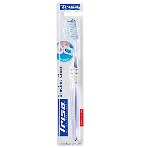 Trisa Bracket Clean, Manuelle Zahnbürste für Personen mit Zahnspangen, für die beste Reinigung der Zähne und Spange. Markenqualität hergestellt in der Schweiz.