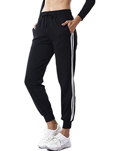FITTOO Damen 2 Gestreift Streifen Freizeithose Jogginghose Hose Sportswear Style,Schwarz,L