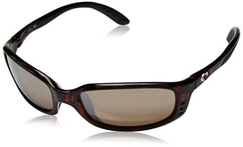Costa Del Mar Men's Brine Polarized Oval Sunglasses, Tortoise/Copper Silver Mirrored Polarized-580G, 59 mm