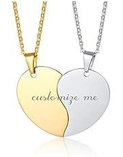 Vnox Inciso Gratis 2 Pezzi Coppia Collana Cuore Puzzle in Acciaio Inossidabile Promessa Collana Pendente Fidanzamento Regalo di San Valentine