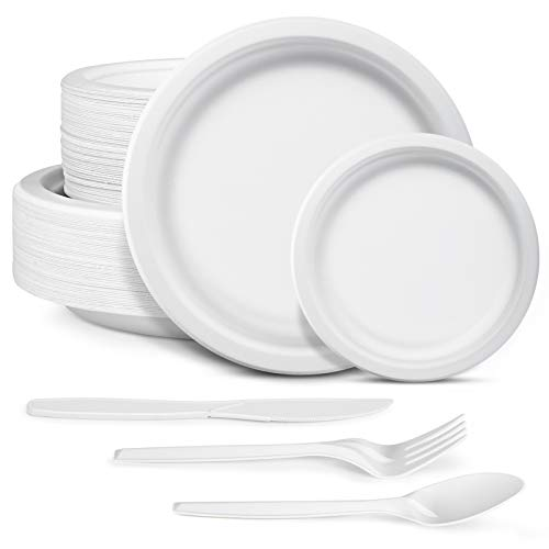 250pcs Disposable Paper Plates Dinnerware Set Heavy-Duty Natural Bagasse Made of Sugar Cane Fibers 100pcs Plates and 150pcs Utensils for Party, BBQ, Picnic (Plain)