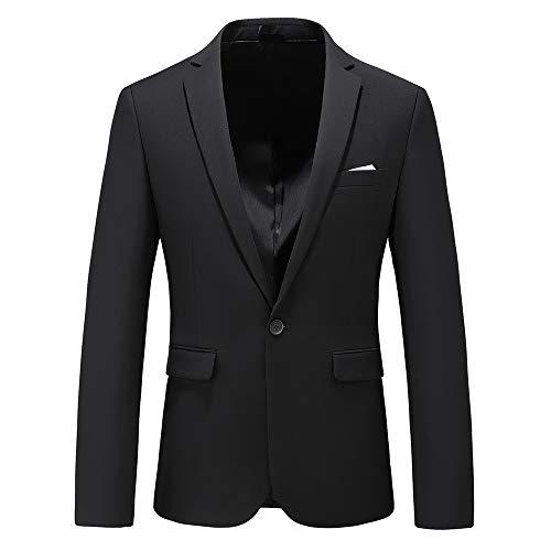 Men's Slim Fit Casual Blazer One Button Notched Lapel Turn-Down Collar Suit Jacket US Size 44 (Label Size 6XL) Black