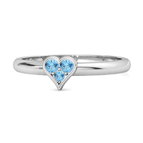 Multi Choice Your Gemstone Sparkling Heart Shaped Design 0.06 Cts 925 Sterling Silver Ring (O, Swiss Blue Topaz)