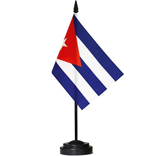 ANLEY Cuba Juego de banderas de escritorio de lujo - Bandera de escritorio cubana en miniatura de 6 x 4 pulgadas con poste sólido de 12'- Colores vivos y resistente a la decoloración - Base negra