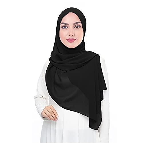 Lina & Lily Damen Muslim Hijab Kopftuch Schal (Schwarz)