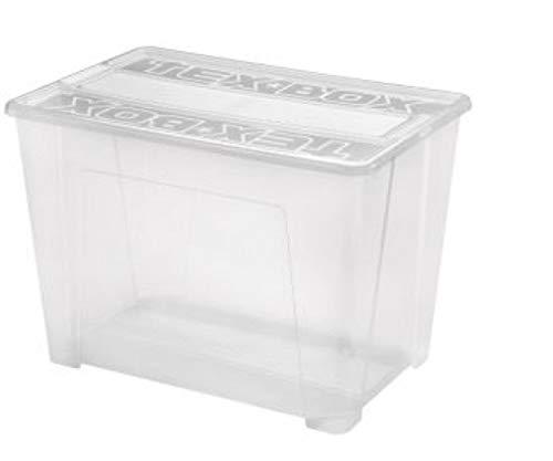 Heidrun 4 x Tex-Box mit Deckel + Klickverschluss - 70 Liter - 57 x 38 x 40,5 cm - transparent