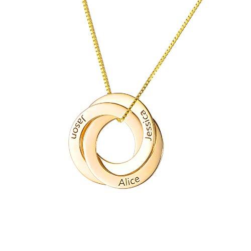 HooAMI 925 Silber Personalisierte Kette Namenskette Mit 3 Namen Russische Verwobene Runde Familienkette Mit Gravur Mit Box (Gold)