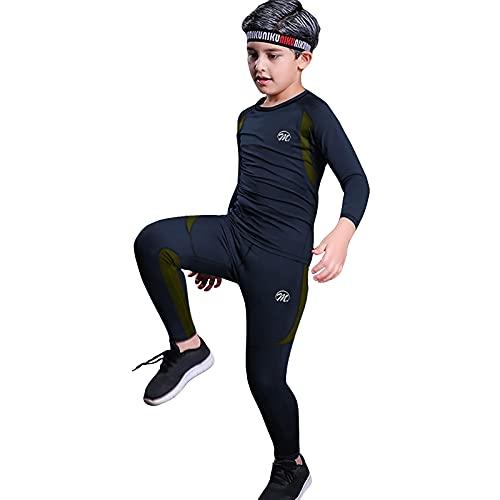 MeetHoo Conjunto Ropa Interior Termica para Niños Camisetas Termicas Deportivas Manga Larga Decathlon Pantalon Termico Futbol Niño de Esquí Forro de Lana para Correr (Azul-1, XS/125-135cm)