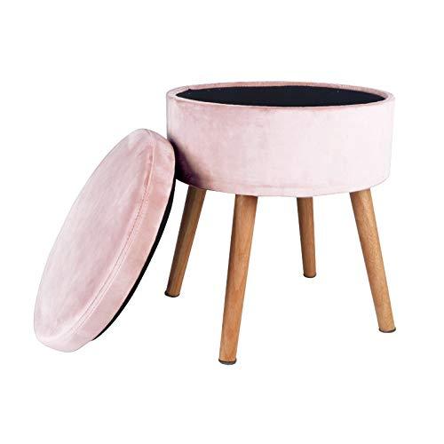Reposapiés con almacenamiento Tool de almacenamiento, patas de taburete de madera maciza desmontable 37 * 37 * 43 cm, usados para el cambio de maquillaje de dormitorio y zapatos ( Color : Pink )