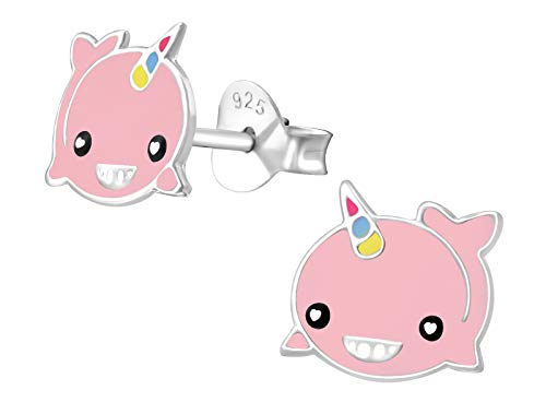 Hypoallergenic Sterling Silver Narwhal'Unicorn of The Sea' Earrings for Kids (Pink)
