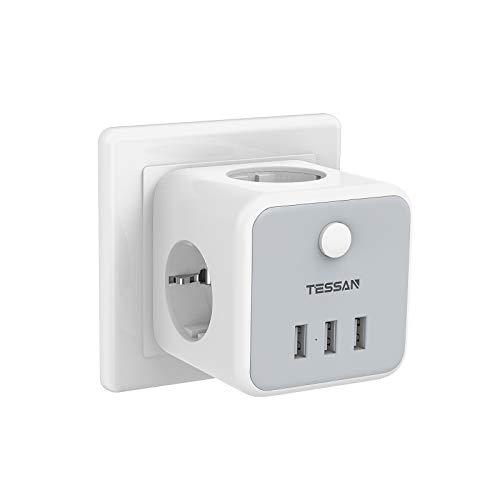 TESSAN Prise USB Multiple, Multiprise Murale Cube 3 Prises avec 3 USB Secteur, 6 en 1 Bloc Multiprises USB Secteur avec Interrupteur, Multiprise Electrique Murale USB Chargeur pour Domicile, Bureau