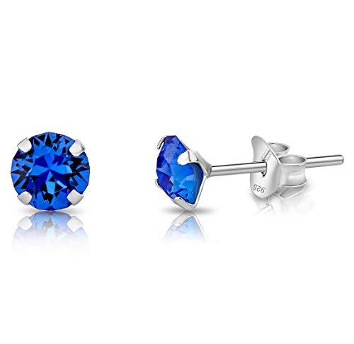 DTPsilver® Semental Pendientes/Aretes de Plata de Ley 925 con Cristales Swarovski® Elements Pequeños Redondos - Diámetro: 5 mm - Color: Zafiro Azul