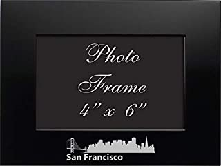 San Francisco, California-4x6 Brushed Metal Picture Frame-Black